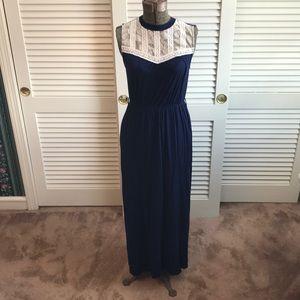 Monteau High Neck Maxi Dress // Navy and Lace Sz M